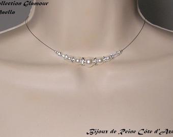 Bridal Swarovski white - Glamour Collection - lily - wedding ceremony bridal wedding jewelry wedding necklace