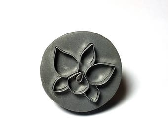 Destash Sale Hand-made Stamp for Polymer Clay Wonder Stamp Orchid Flower Round Stamp 09 Studio Cleaning Sale