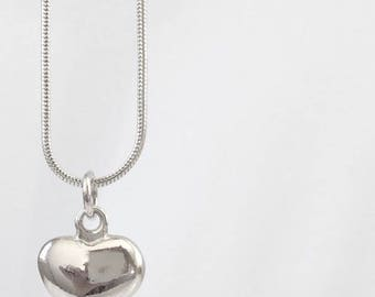 Papaya Silver Heart Pendant Necklace 18 Inches Long with Rat Tail Chain