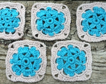 5 Flower Granny Squares for Afghans, Blankets, Cushion Covers, Purse, Hat or Craft Projects or Nursery Decoration