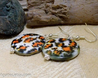 Animal Print Mother Of Pearl Shell Silver Dangle Earrings