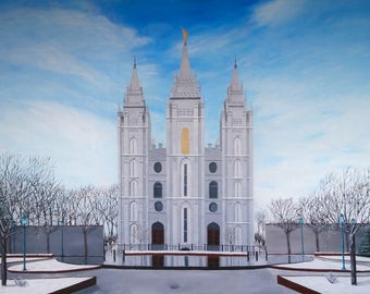 Winter Salt Lake City, Utah Mormon Temple Painting