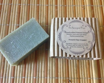 French clay Soap, Vegan, cold process with organic palm oil & coconut oil.  Because your skin deserves the best!