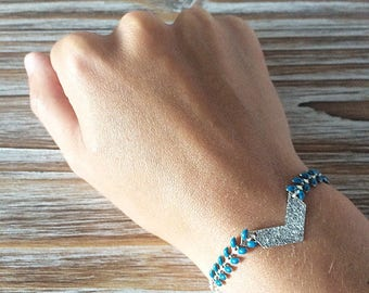 Ethnic bracelet, silver and teal chevron and herringbone chain charm