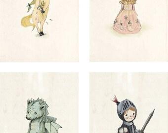 Princess - knight - Dragon - Unicorn - Art -Nursery boy Art set - Nursery Decor Boy - Magical art Art - Art Room