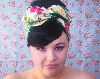 Doible Sided Wired Hair Scarf - Tropical Hula Girl (with polka dots)