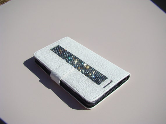 Galaxy Note 4 Black Diamond Rhinestone Crystals on White Wallet Case. Velvet/Silk Pouch bag Included, Genuine Rangsee Crystal Cases.