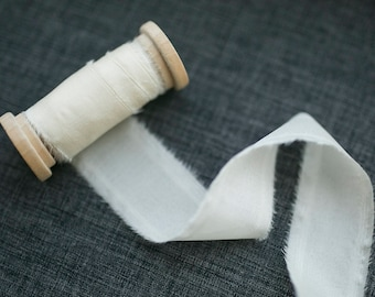 Ivory Silk Ribbon;  100% Silk; Wedding bridal bouquet, invitations, wedding favors, wedding photography styling