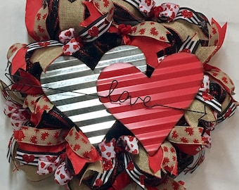 Valentines Wreaths, Rustic Wreath, Front Door Wreath, Valentines Wreath, Valentines Gift, Deco Mesh Wreath, Ready To Ship Wreath