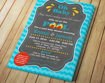Custom Pool Party Baby Shower - JPEG Invitation - Digital Download