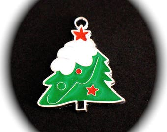 X 1 charm Christmas tree topped with a star enamel green red and white 37 X 31 mm