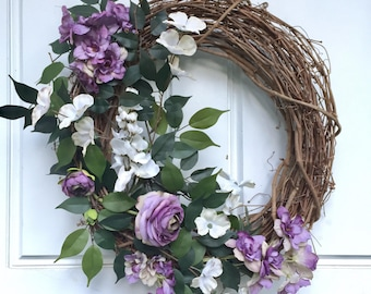 Purple + White | Summer Wreath | Fall Wreath |  Greenery Wreath | Grapevine Wreath | Front Door Wreath