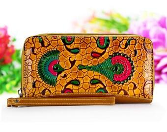 Women Wallets, Leather Wristlet, Wristlet Wallet, Genuine Leather Ocher Color Wallet, Womens Purse, Handbags