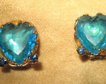 Blue Green Rhinestone Earrings - Clip 50s Vintage
