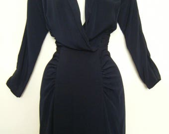 INSANE early 1950's PLUNGING Neckline WIGGLE dress, size s