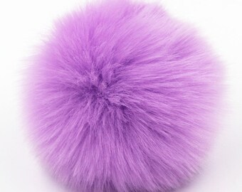 "3.1"" Pom Pom Balls Faux Rabbit Fur Fluffy Accessory Purple For Hats Purses Scarves Keychains Cruelty Free 8 Cm"