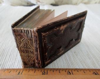 tiny antique gem album -1800s tintype album, brown leather