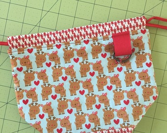 Christmas Love, Project Bag, drawstring Bag, notions pouch