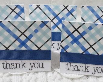 Mini Thank You Cards, Blue and Black Plaid, Handmade Set of 40