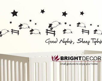 Counting Sheep Sticker Wall Decal - Nursery Children Baby - Good night, Sleep tight - vinyl