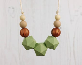 Teething Jewellery, Breastfeeding Necklace, Geometric Beads, Nursing Necklace, Baby Shower Gift, Teething Beads, Copper, Silicone Teether