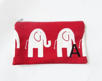 Elephant Bag - Large Makeup Bag - Monogrammed Cosmetic Bag - Bridesmaid Bags - Personalized Clutch - Large