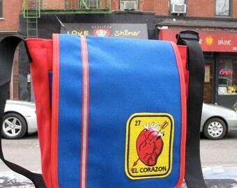 El Corazon Anatomical Heart Canvas Messenger Bag, Courier Shoulder bag