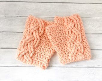 Handmade Crochet Cable Fingerless Gloves, Cable Hand Warmers, Cable Wrist Warmers in Peach Color
