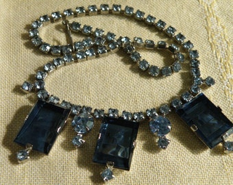 Vintage Art Deco Paste Rhinestone Necklace - 15 inch
