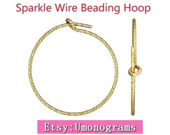 14K Yellow Gold Filled 20/25/30/45mm Round Ear Sparkle Wire Beading Hoop Earring Components Wholesale BULK DIY Jewelry Findings 1/20 14kt GF