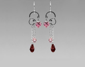 Pink Swarovski Crystal Earrings, Crystal Earrings, Red Crystal, Valentines Jewelry, Wire Wrapped, Girly Jewelry, Youniquely Chic, Eros II v6