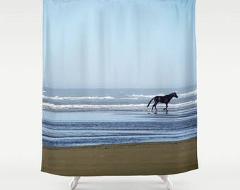 Fabric Shower Curtain  - Black Horse on Beach, Equine, Nature Photography, bathroom, home, decor, RDelean