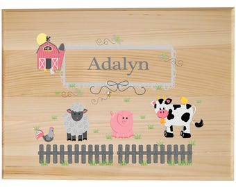 Personalized Childrens Wooden Room Sign Barnyard Friends Pastel-WORS-230b