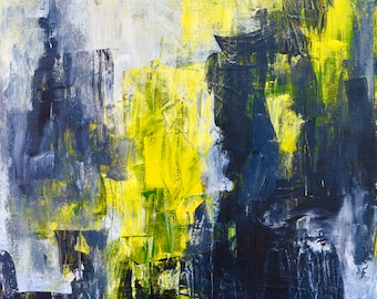 Ready to be free-abstract painting black, white and yellow