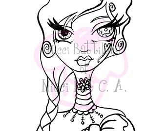 Digitale Digi Stamps Big Eye pop-hoofd INSTANT DOWNLOAD ~ Steampunk pictogram Sally