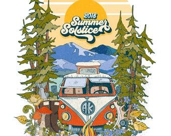 Summer Solstice 2018 Poster wall art alaska artwork colorful camper VW camping AK last frontier nature corvus 16x20 illustration design