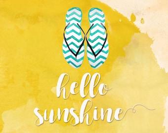 Hello Sunshine Print / Watercolor Print / Square / Yellow / Digital Download / Instant download / Sunshine / Flip Flops
