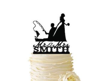 Fishing wedding cake topper | Etsy