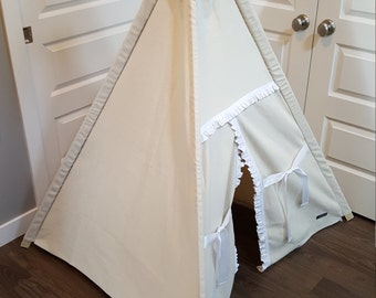 Toddler Teepee - Play Tent - Natural Canvas with White Ruffle Detail