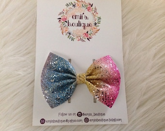 Rainbow Lace Bow, Baby Headband, Babygirl Headband, Bow on a Clip, Toddler Headband, Baby Headband, Nylon Headband