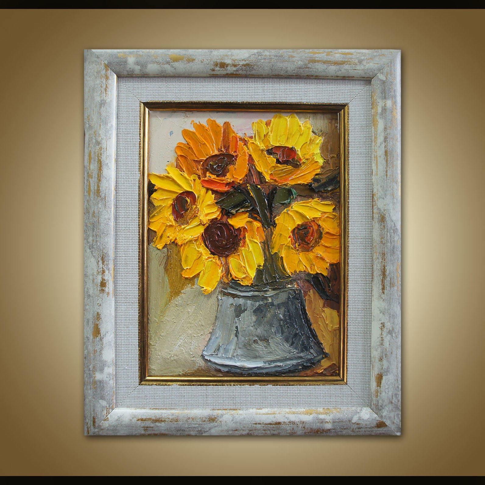 Sonnenblumen Öl-Gemälde originale abstrakte Malerei Küche
