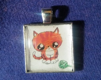 Kitty Cat Necklace ( orange kitty with yarn Hand Drawn cabochon) includes ball chain* Not Pictured  Cat Lover Necklace New Pet resin jewelry