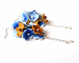 Floral Earrings Blue Flower Earrings ( polymer clay silver earrings dangle earrings long earrings floral bridal jewelry bridesmaid earring )