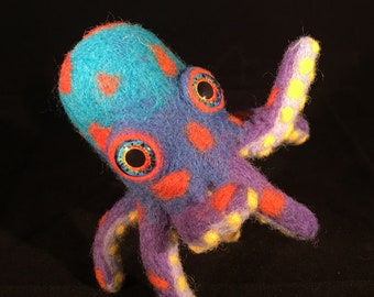 Handmade Octopus Felted Posable Art Doll