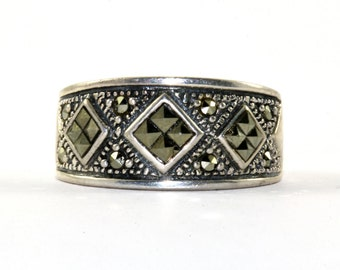 Vintage Rhombus Design Marcasite Inlay Band Ring 925 Sterling Silver RG 1286