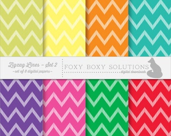 Colorful Zig Zag Chevron Pattern Instant Download Digital Paper for Personal & Commercial Use Set of 8 Scrapbooking Papers