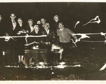 "Vintage Photo ""Around The Campfire"" Night Photography Found Vernacular Photo"