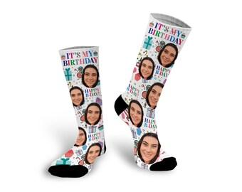 Custom Photo Socks, Birthday Socks, Birthday Gift, Personalized Socks, Photo Socks, It's My Birthday, Funny Socks, Birthday --62152-SOX1-603