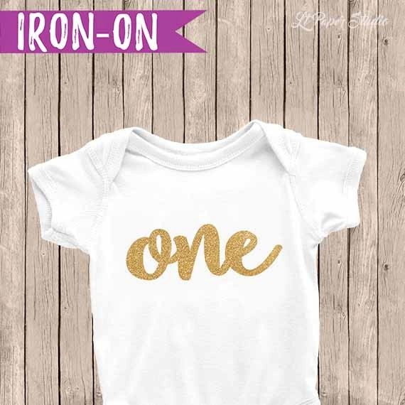 Gold One Birthday Outfit Iron On Decal 1st Birthday Iron On