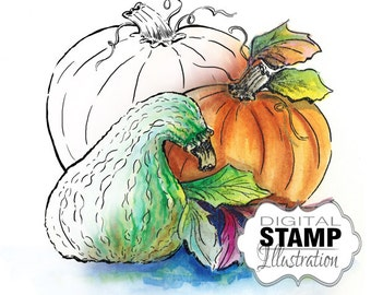 Pumpkins Digital Stamp | Digi Stamp | Fall Pumpkins Digital Download | Digital Scrapbooking | Scrapbook Supplies | Halloween, Thanksgiving